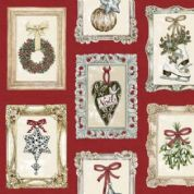 Makower UK Balmoral - 4701 - Traditional Christmas Images in Picture Frames on Red  - 1597-1 - Cotton Fabric